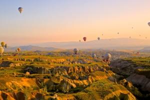 Hot Air Baloon over Canyon